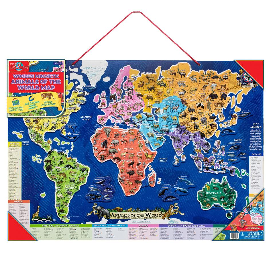 T.S. Shure Animals of the World Map Wooden Magnetic Puzzle ...