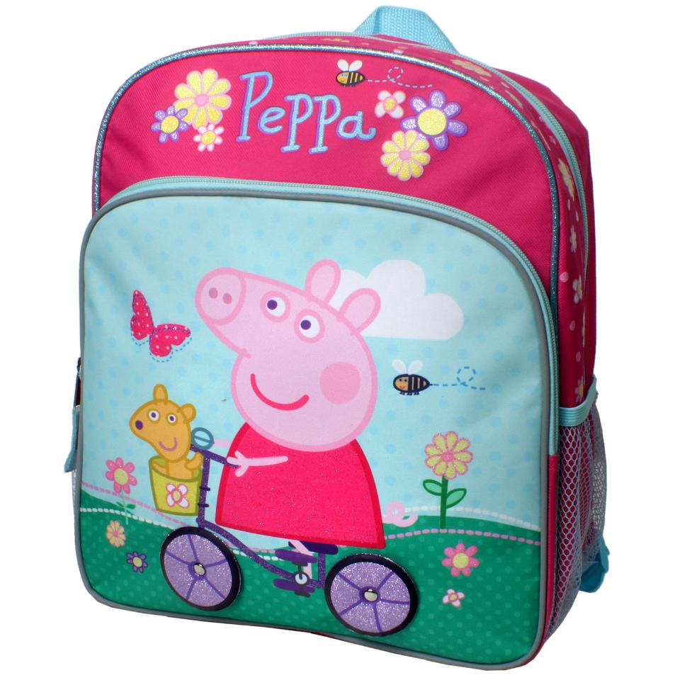 Peppa Pig On Her Bicycle 14 Inch Backpack With Side Mesh Pockets