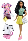 Barbie Fashionistas Doll with Fashion Set - Teal Shirt, Yellow Skirt, Floral T-Shirt & Skirt, Varsity Tee & Pink Shorts