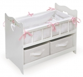 Badger Basket White Rose Doll Crib with Two Baskets for 20-inch Doll
