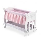 You & Me Baby So Sweet Wooden Bassinet Furniture for 16 inch Doll - White and Pink