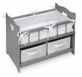 Badger Basket Doll Crib with Two Baskets - Grey