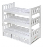 Badger Basket Toys 1-2-3 Convertible18 inch Doll Bunk Bed with Storage Baskets - White Rose