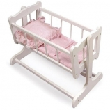 Heirloom Style Doll Cradle with Pink Gingham Bedding