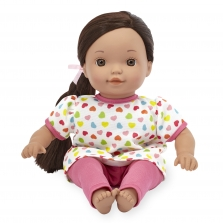 You & Me 12 Inch Satin Bow Toddler Doll - Ethnic in Pink Heart Print with Side Braid