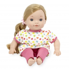 You & Me 12 Inch Satin Bow Toddler Doll - Blonde in Dark Pink Heart Print with Side Braid