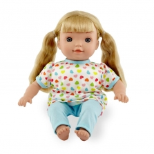 You & Me 12 Inch Toddler Doll - Blonde in Blue Heart Print