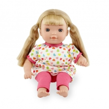 You & Me 12 Inch Toddler Doll - Blonde in Pink Heart Print