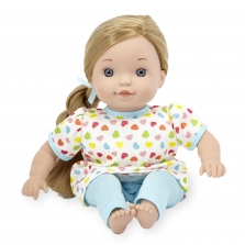 You & Me 12 Inch Satin Bow Toddler Doll - Blonde in Light Blue Heart Print with Side Braid
