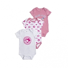 Snugabye Toronto Blue Jays 3 Piece Pink Infant Bodysuit Set 9-12 Months